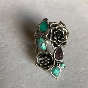 Lucky Brand Turquoise Amethyst Flower Ring
